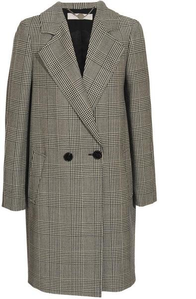 Black Wool blend Prince Of Wales Checked Overcoat by Stella Maccartney